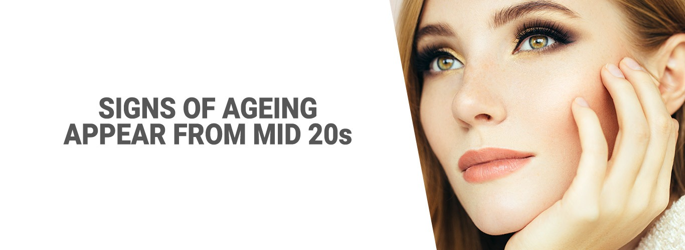 Signs of ageing appear from mid 20s