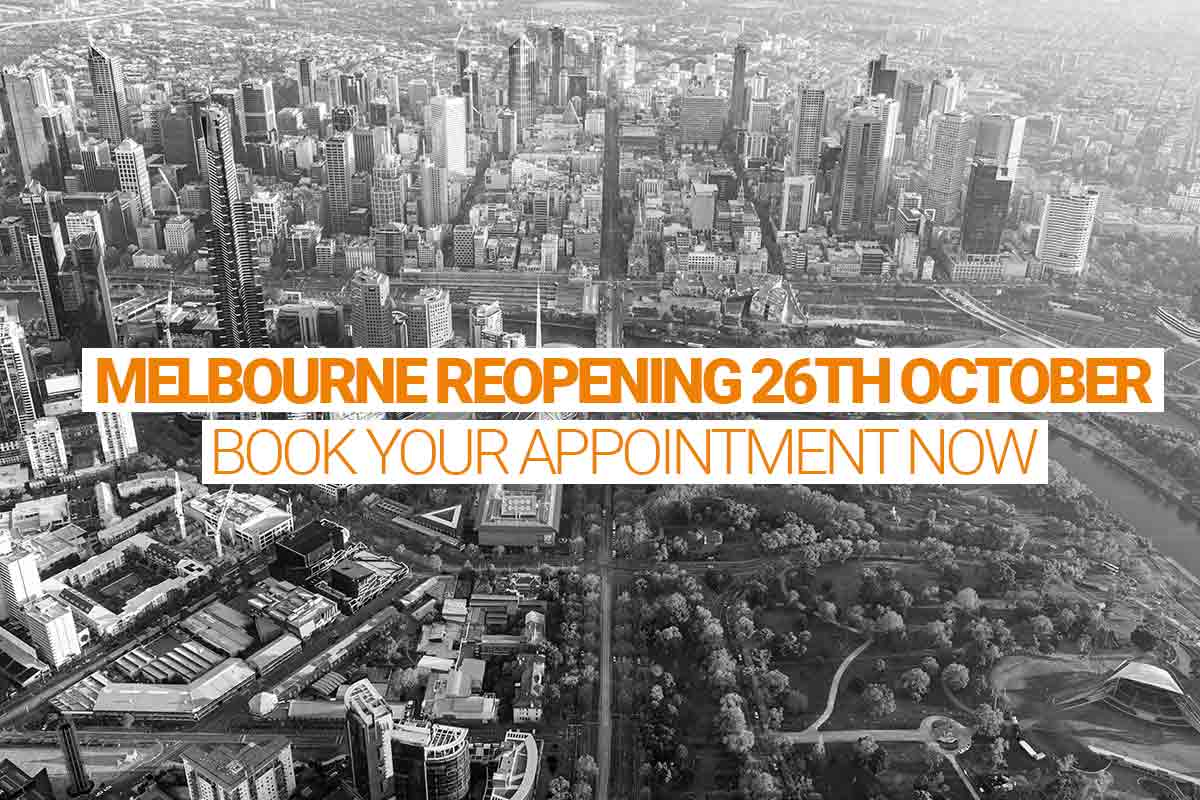MELBOURNE REOPENING 26th OCTOBER Book your appointment now
